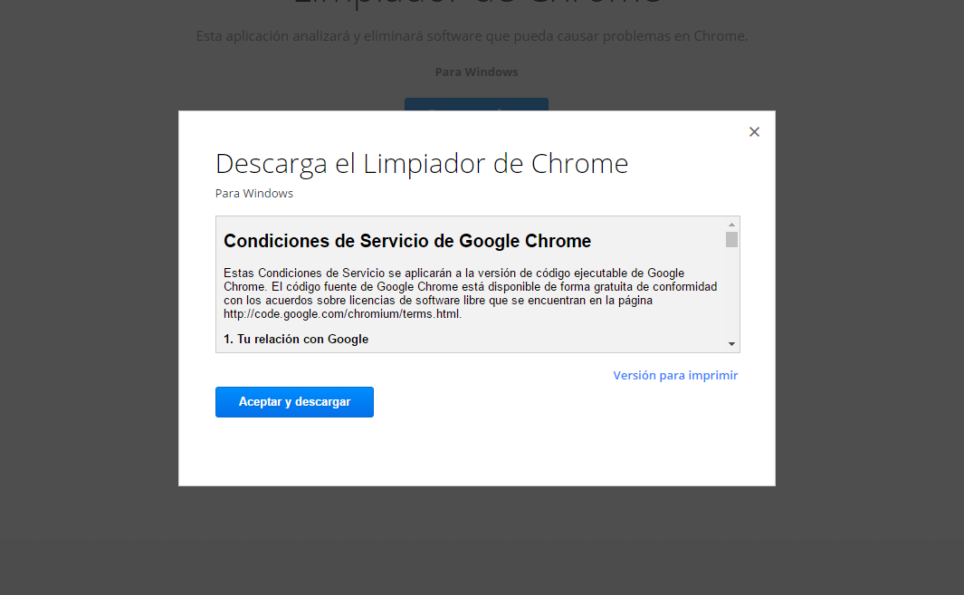 Eliminar pop-up de Google Chrome 2