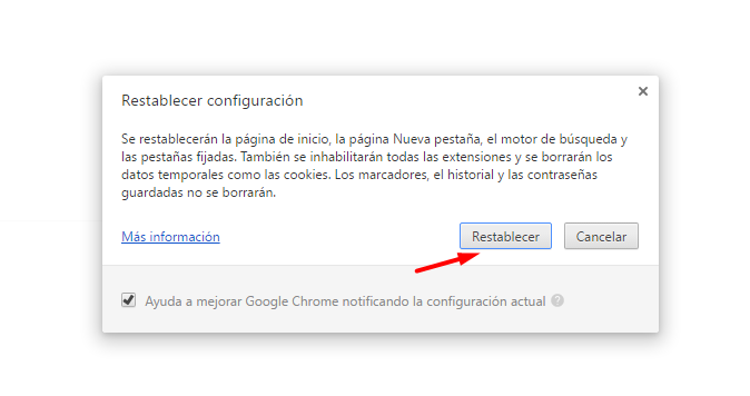 Eliminar pop-up de Google Chrome 4